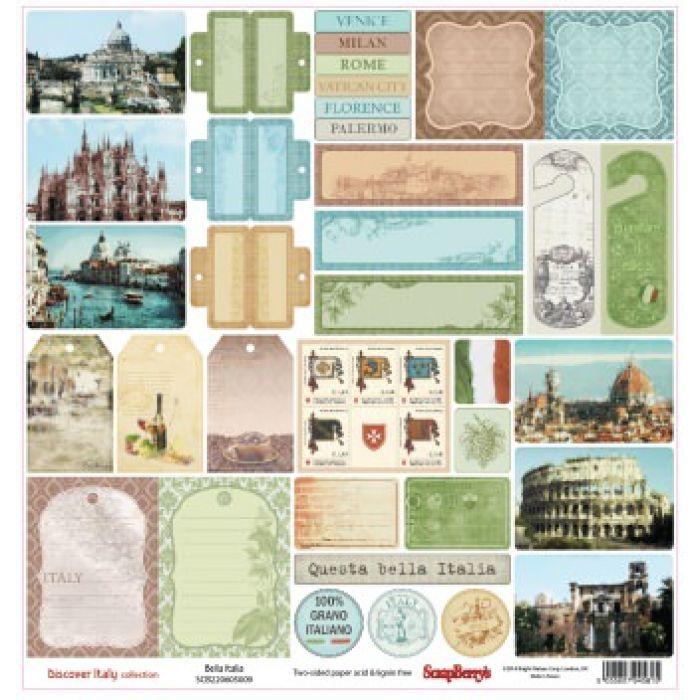 Бумага Белла Италиа, коллекция Итальянские каникулы для скрапбукинга