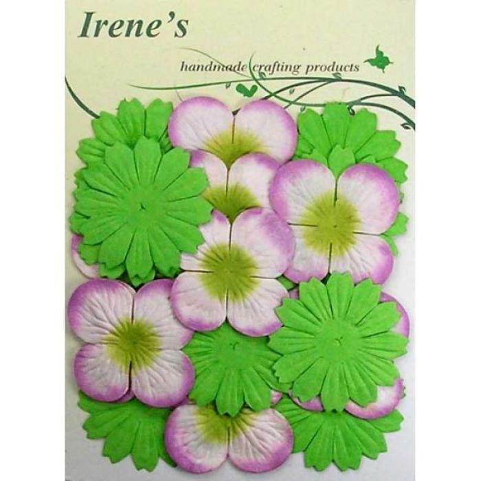 Набор цветов, розово-зеленые для скрапбукинга