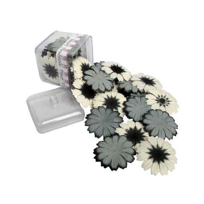 Чёрно-белые цветы в баночке для скрапбукинга
