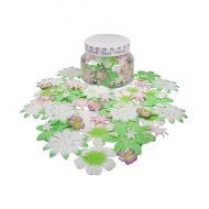 Набор цветов в банке, розово-зеленые