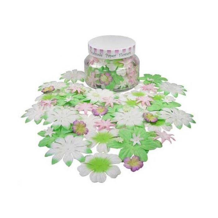 Набор цветов в банке, розово-зеленые для скрапбукинга