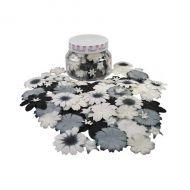 Набор цветов в банке, черно-белые