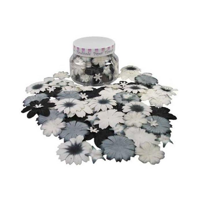 Набор цветов в банке, черно-белые для скрапбукинга