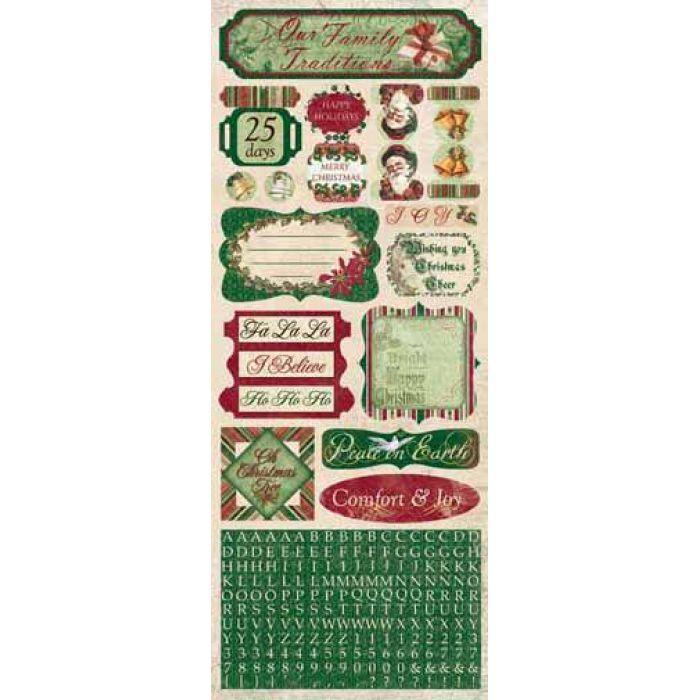 Наклейки Comfort and Joy, коллекция Father Christmas для скрапбукинга