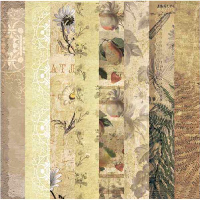 """Набор бумаги """"Ботанический атлас"""", 30 х 30 см для скрапбукинга"""