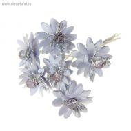 Цветы Веточка с цветами серебряная