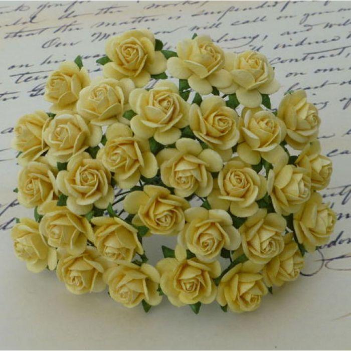 Розы нежно-желтые, 20 мм для скрапбукинга