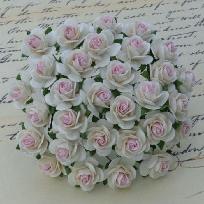 Розы цвета слоновой кости с розовым, 25 мм для скрапбукинга