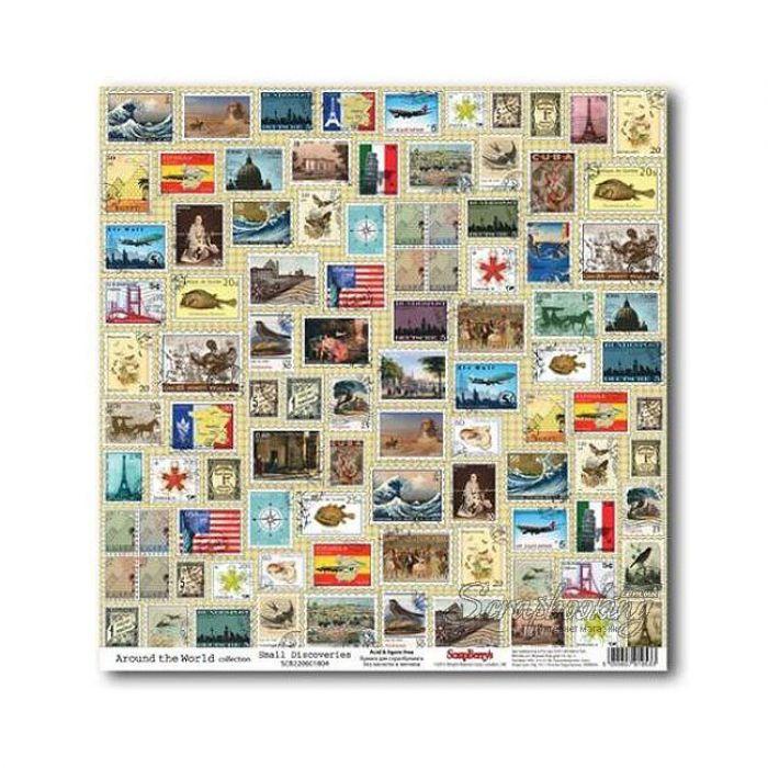 Бумага Маленькие открытия, коллекция Вокруг Света для скрапбукинга