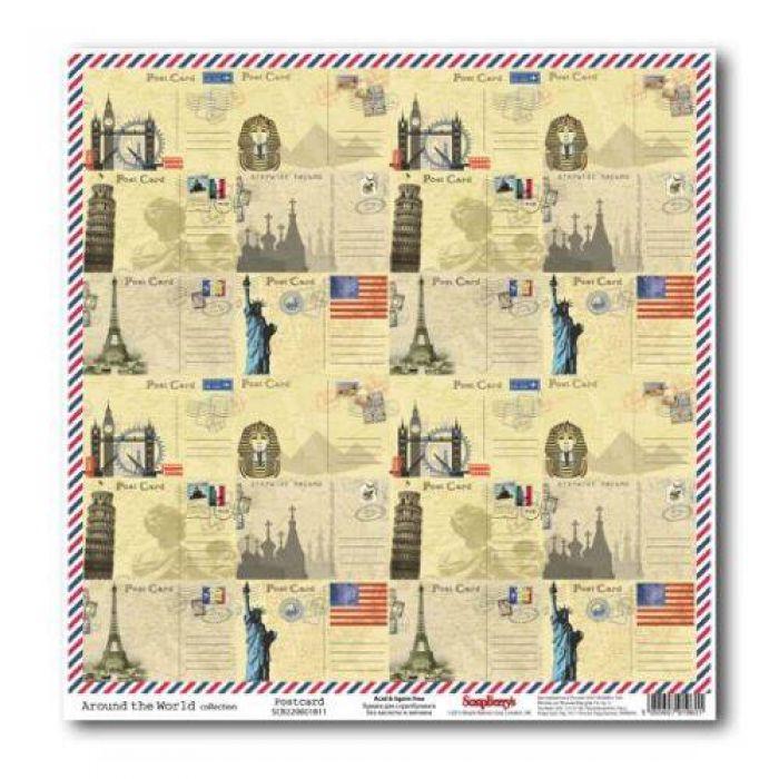 Бумага Почтовая карточка, коллекция Вокруг Света для скрапбукинга
