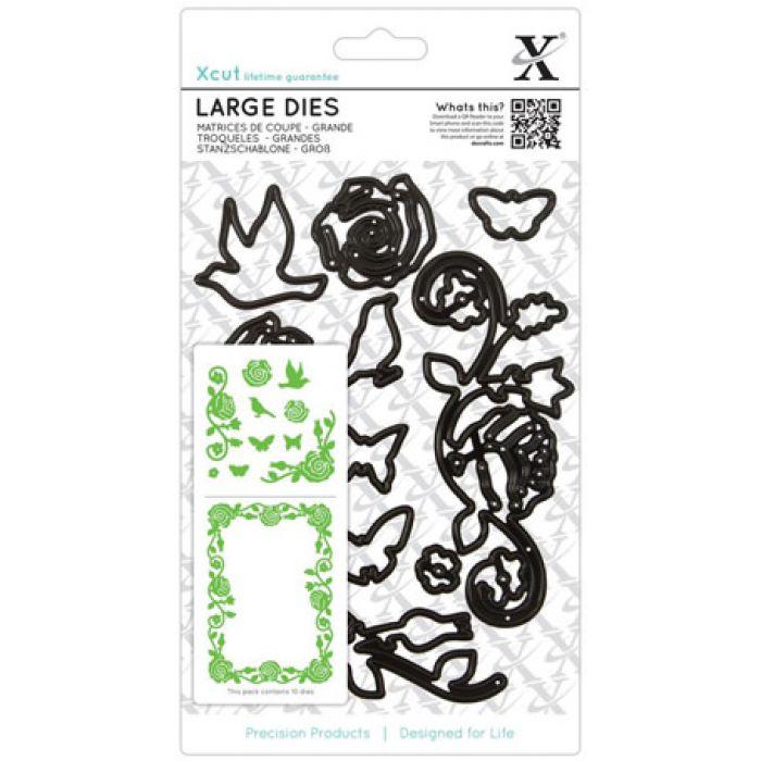 Набор ножей для вырубки Цветение розы для скрапбукинга