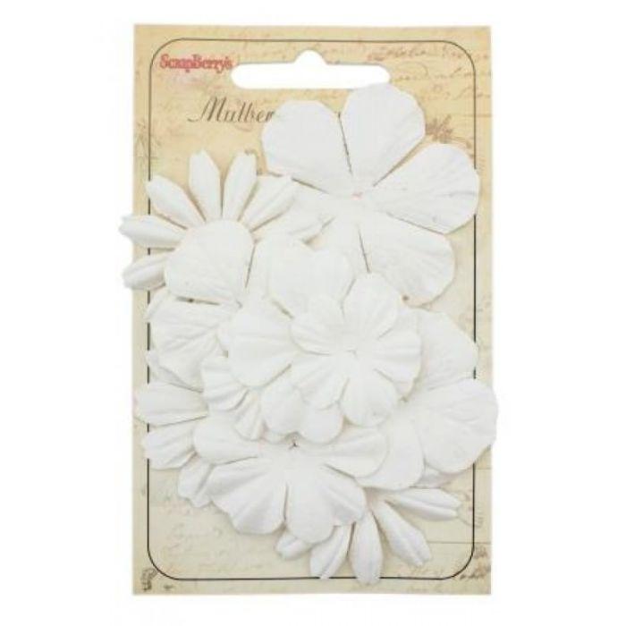 Набор цветочков из шелковичной бумаги Белые для скрапбукинга