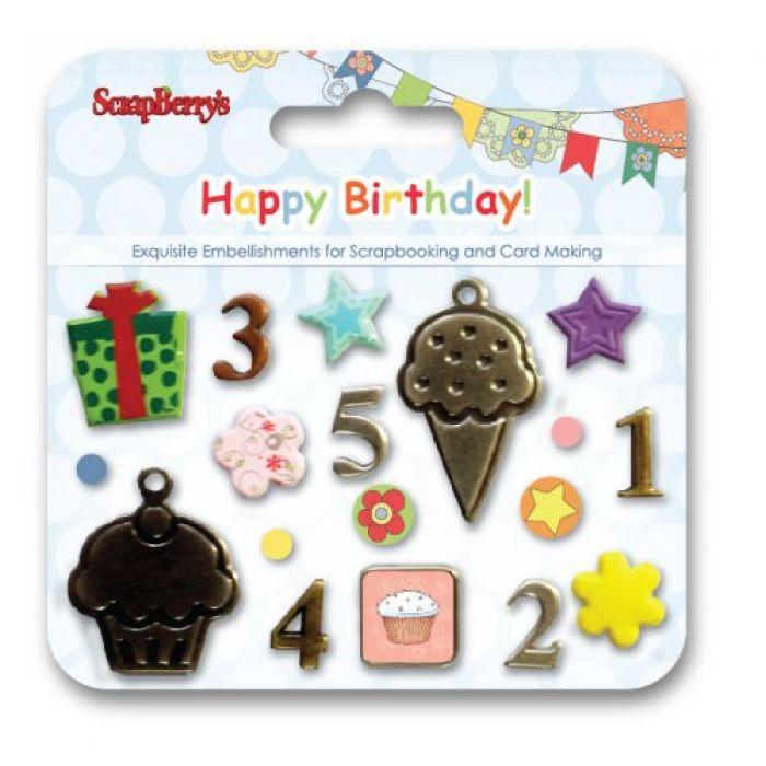Набор декоративных брадсов С днем рождения для скрапбукинга