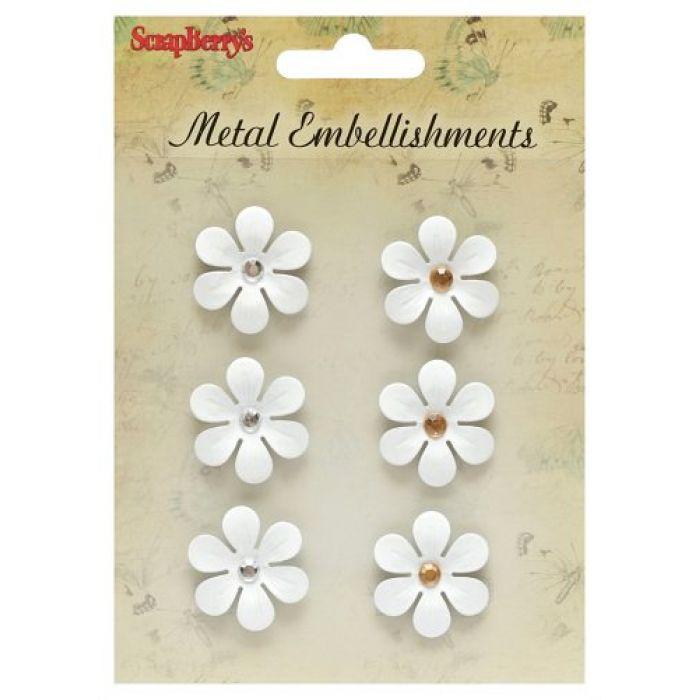 Набор металлических цветочков, белые для скрапбукинга