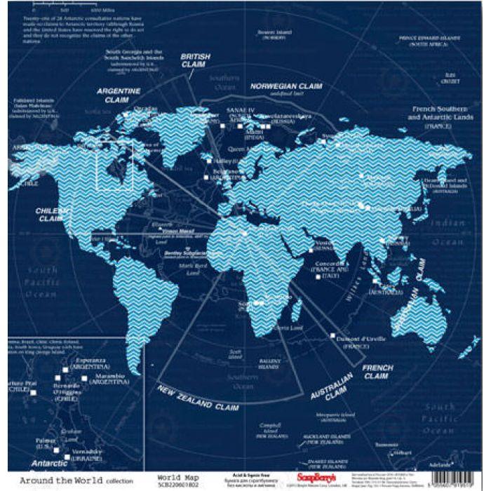 Бумага Карта Мира, коллекция Вокруг Света для скрапбукинга