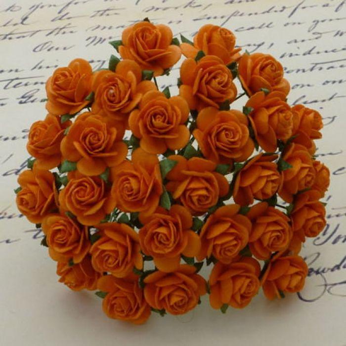 Розы оранжевые 25 мм для скрапбукинга