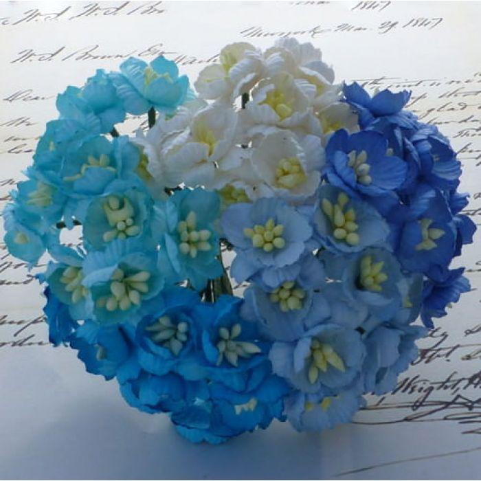 Цветы вишни бело-голубые цвета для скрапбукинга