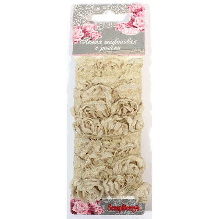 Лента с розами тканевыми ТЕПЛО-РОЗОВАЯ для скрапбукинга