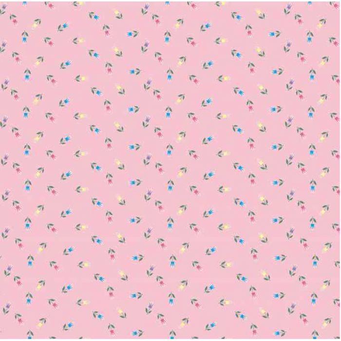"""Бумага  """"Сказочные цветочки"""" на розовом для скрапбукинга"""