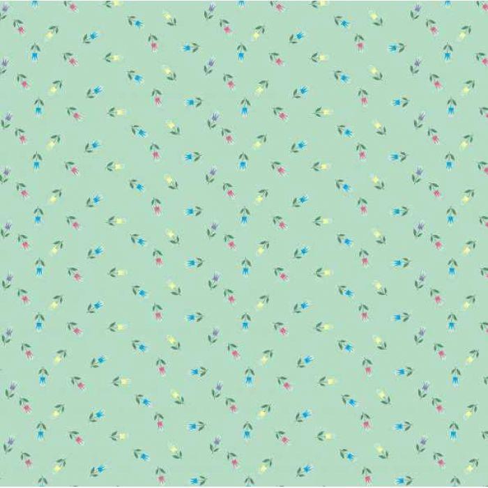 """Бумага  """"Сказочные цветочки"""" на зеленом для скрапбукинга"""