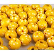 Бусины деревянные лакированные желтые с рисунком