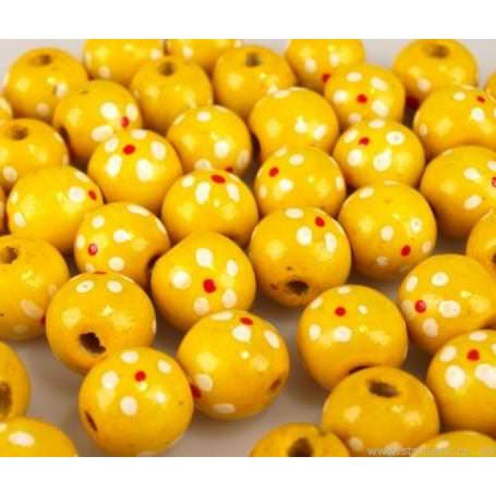 Бусины деревянные лакированные желтые с рисунком для скрапбукинга