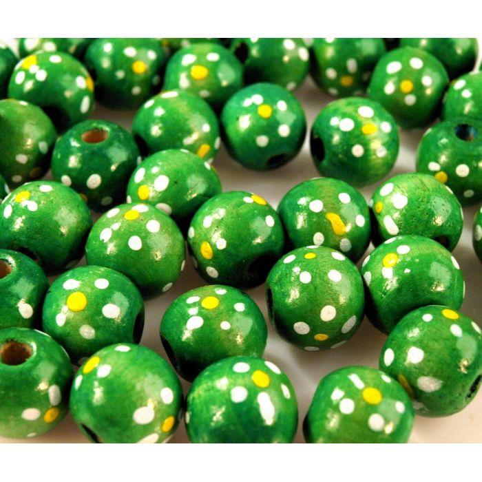 Бусины деревянные лакированные зеленые с рисунком для скрапбукинга