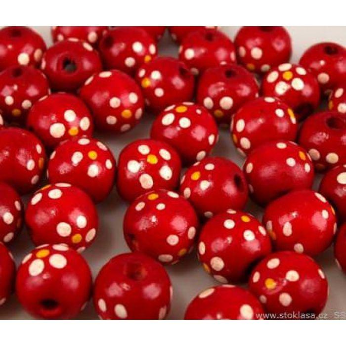 Бусины деревянные лакированные красные с рисунком для скрапбукинга