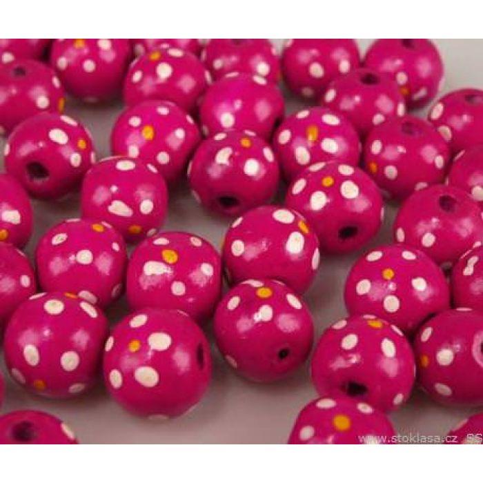 Бусины деревянные лакированные розовые с рисунком для скрапбукинга