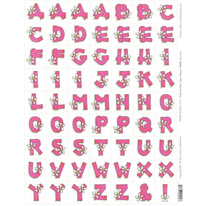 """Бумага для вырезания """"Алфавит - Розовый с ромашками"""" для скрапбукинга"""
