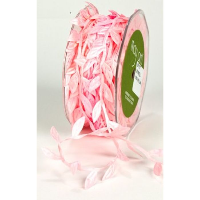 "Лента ""Листочки"" розовая для скрапбукинга"