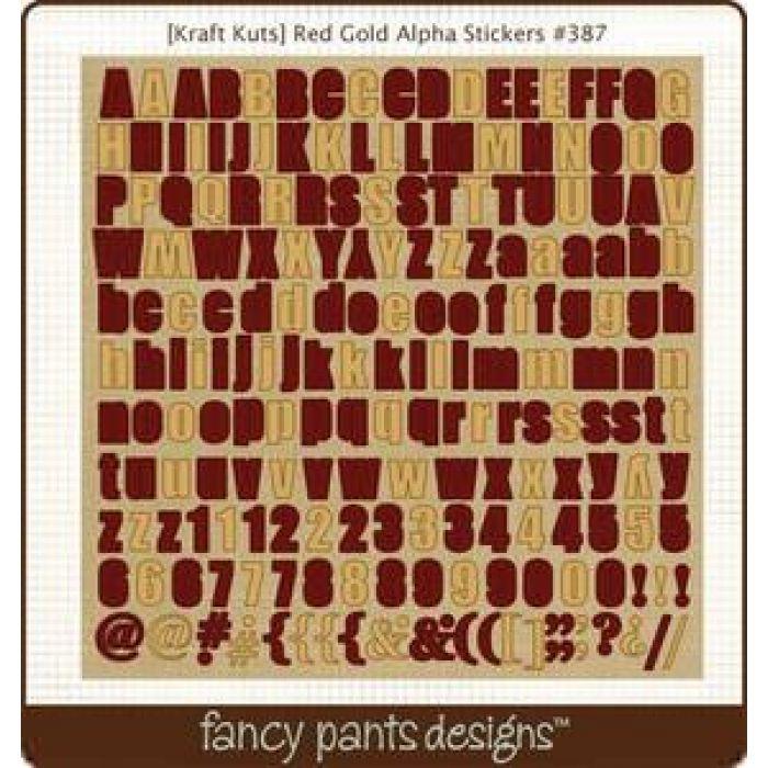 Наклейки Алфавит красно-золотой для скрапбукинга