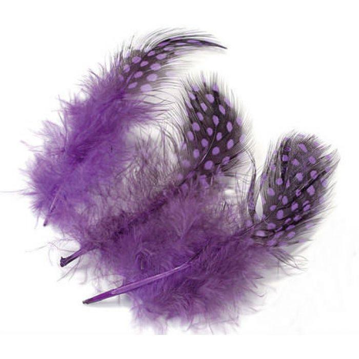 Перья цесарки фиолетовые для скрапбукинга
