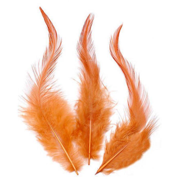 Перья петушиные оранжево-розовые для скрапбукинга