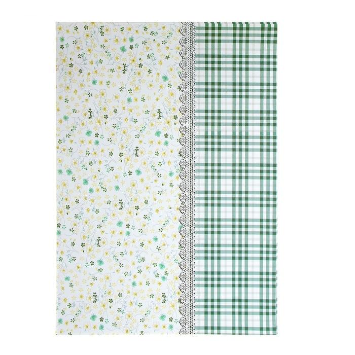Бумага Клетка и цветочки зелёная, А4  для скрапбукинга
