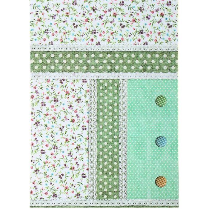 Бумага Пуговицы зелёная, А4  для скрапбукинга
