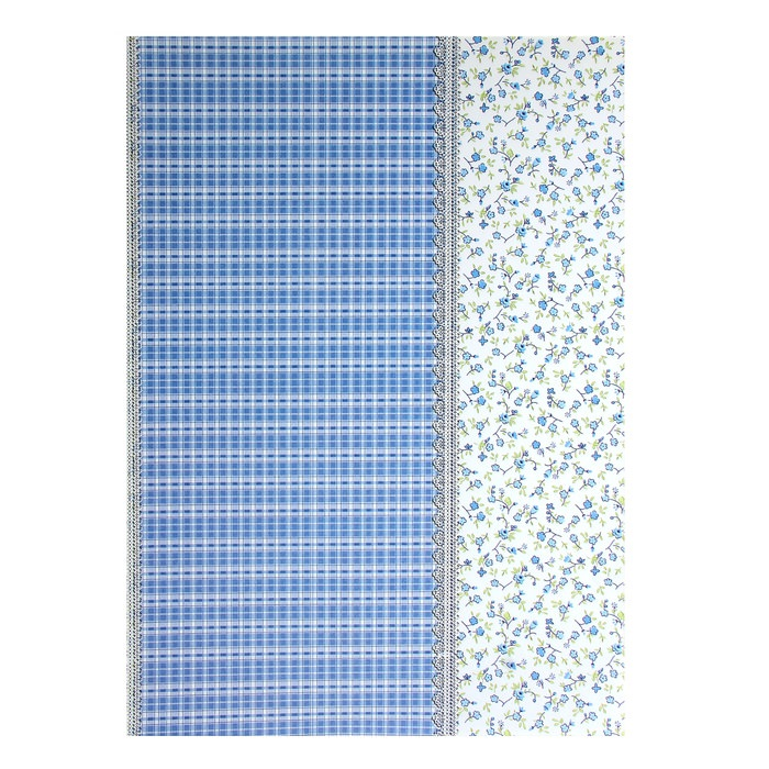 Бумага Клетка и цветочки голубые, А4  для скрапбукинга