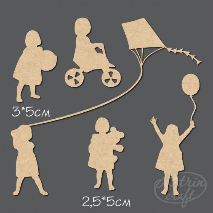 Чипборд Девочки с игрушками для скрапбукинга