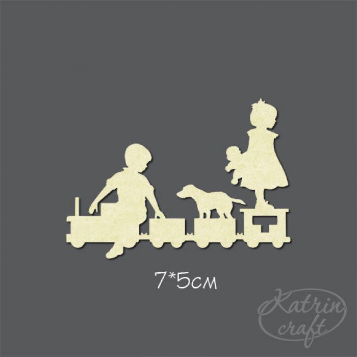 Чипборд Дети на паровозе маленькие для скрапбукинга
