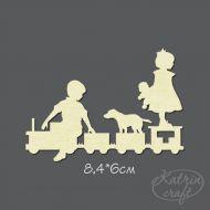 Чипборд Дети на паровозе большие