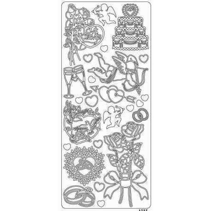 Контурные стикеры ЛЮБОВЬ НАВСЕГДА серебряные SCB 1517271 для скрапбукинга