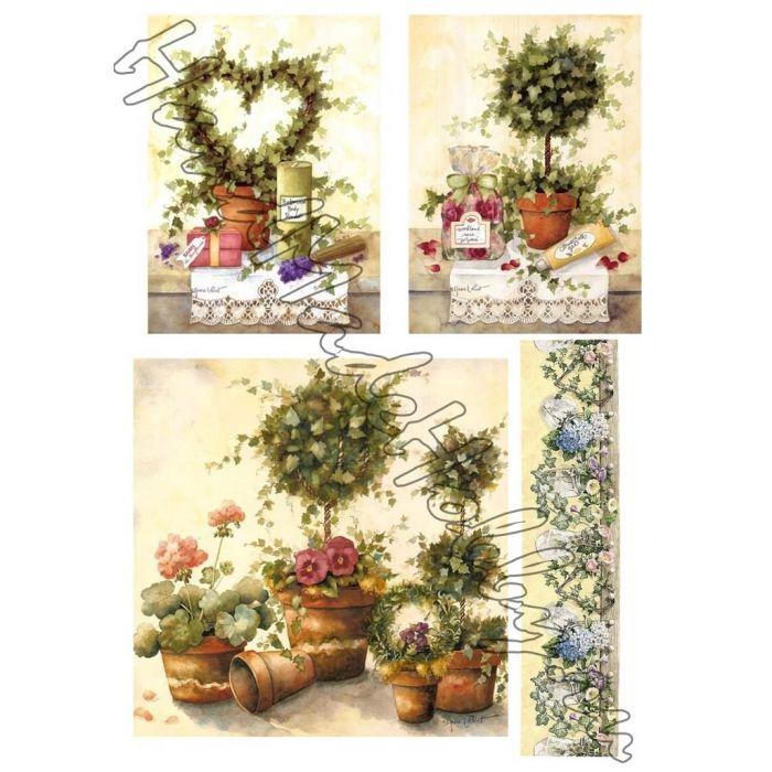 Карта для декупажа Цветы и топиарии для скрапбукинга