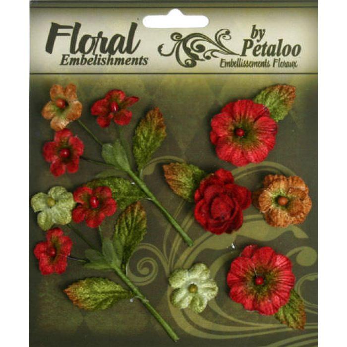 Набор цветов Букет красный для скрапбукинга