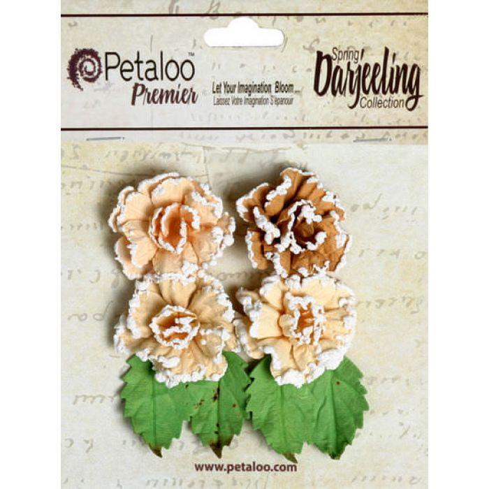 Набор цветов Розы в инее  бежевые для скрапбукинга