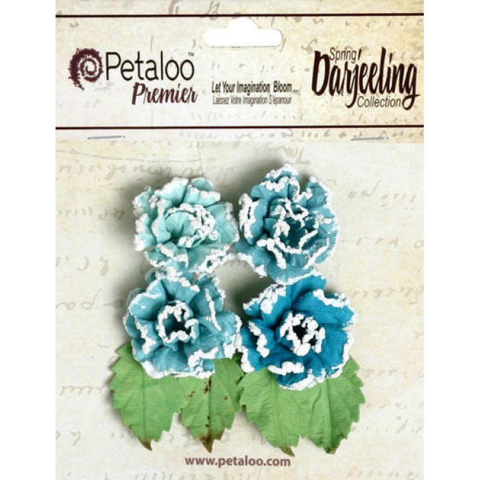 Набор цветов Розы в инее  голубые для скрапбукинга