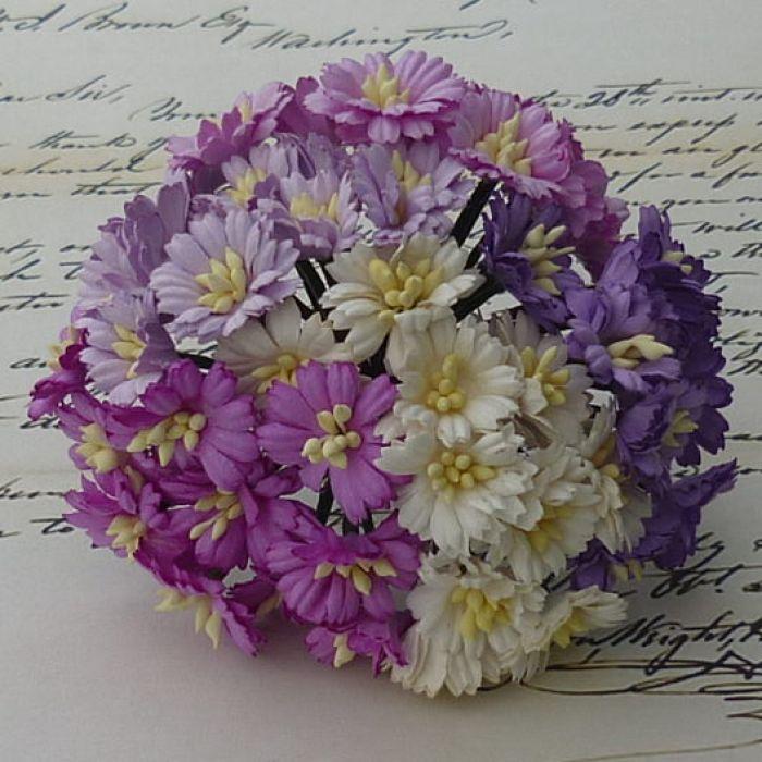 Ромашки бело-лиловые для скрапбукинга