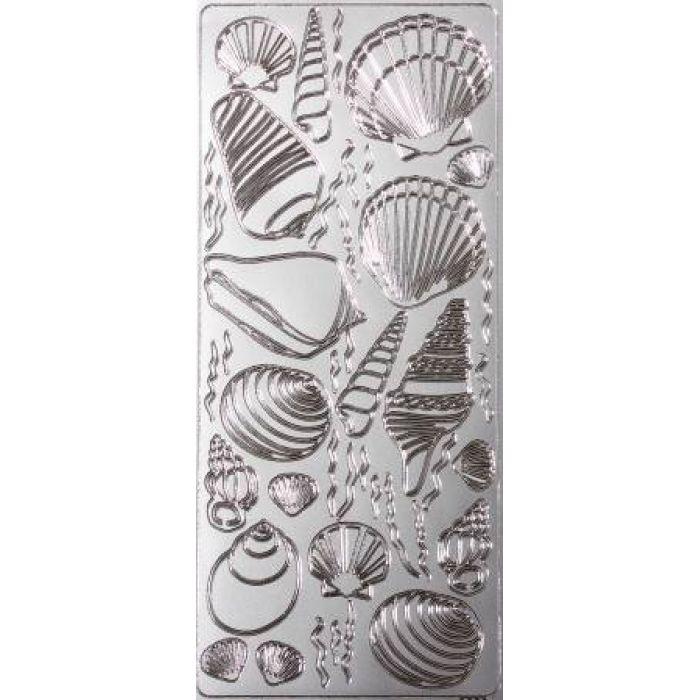 Контурные стикеры РАКУШКИ серебряные SCB 1502891 для скрапбукинга