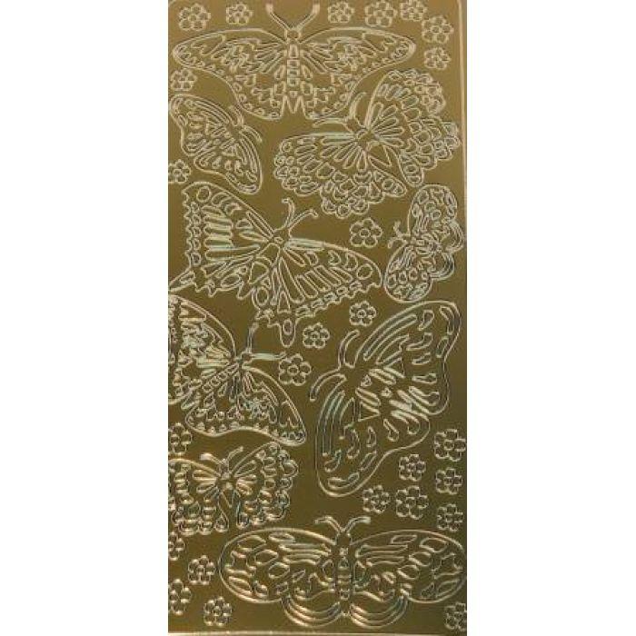 Контурные стикеры бабочки ажурные золотые для скрапбукинга
