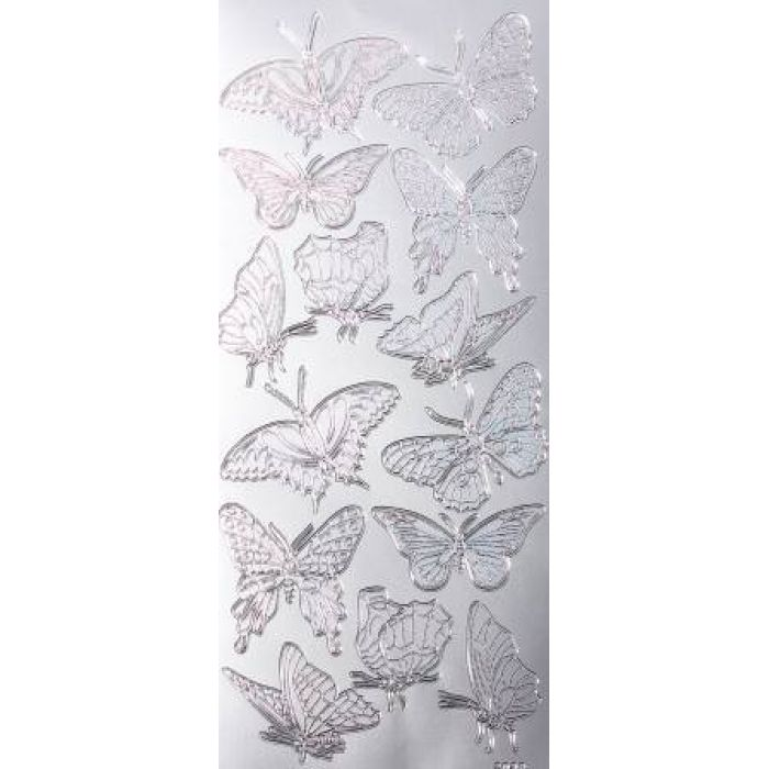 Контурные стикеры БАБОЧКИ ГОЛОГРАФИЧЕСКИЕ серебряные SCB 1520381 для скрапбукинга
