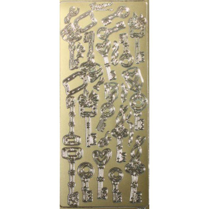 Контурные стикеры КЛЮЧИКИ золотые SCB 1522410 для скрапбукинга